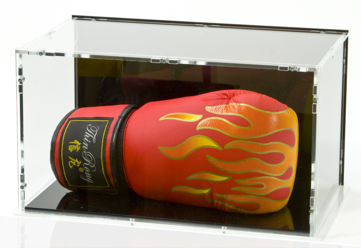 Boxing glove stand in front perspective